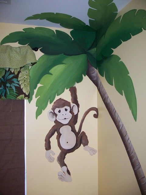 mural for kids room monkey | monkey hangs from a palm tree in this jungle themed bathroom. See ...