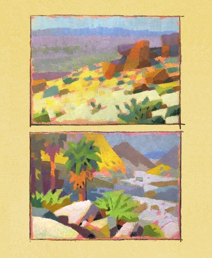 Peter Chan     Small gouache study from Joshua Tree
