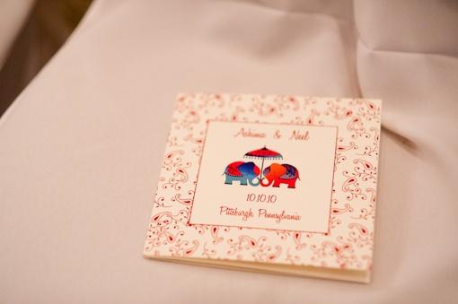 Indian Wedding Programs, Hindu Ceremony, Elephants, Paisley Paper, Stationery
