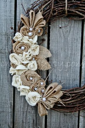 Rustic Burlap, Ivory and Jute Wreath LOVE. $30.00, via Etsy.