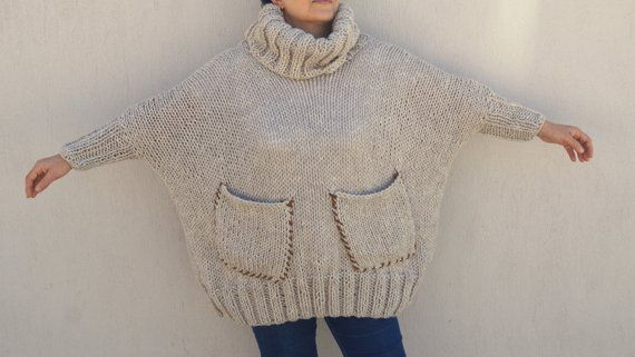 Hand knit sweater,Plus size sweater,Women's sweater,Chunky sweater,Oversized sweater,Maternity,Christmas gift,Turtleneck sweater,Hoodie