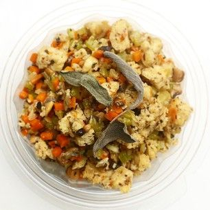 #glutenfree stuffing, with carrots, celery, mushroom, and sage #local #organic