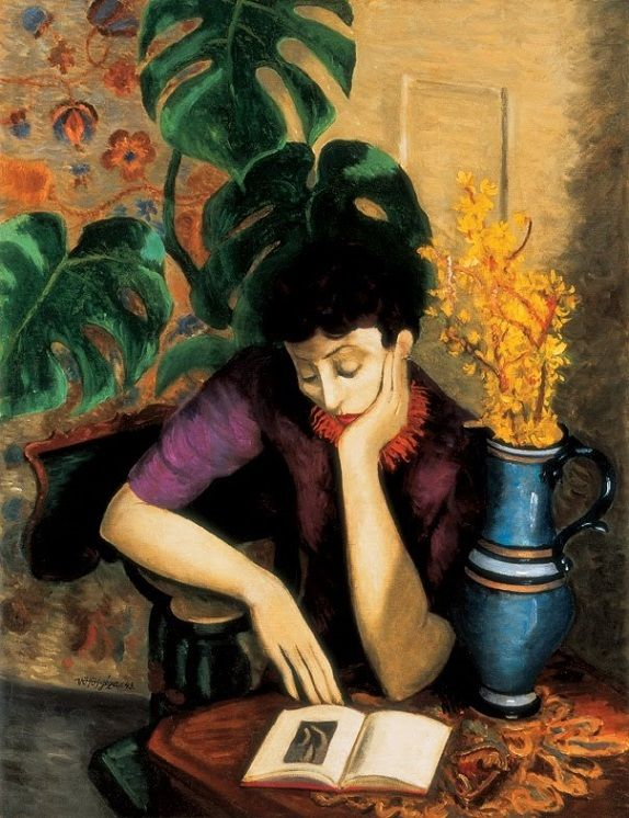 Géza Vörös (Hungarian, 1897-1957): Woman with a Book, 1943 (Oil on canvas) - The École de Paris is not an art movement or a learning institution, but instead is more indicative of the importance of Paris as a center of Western art in the early decades of the 20th century… - A pupil of Ede Balló, Vörös' artistic but cool, reserved and decorative pictures confess to the influence of the objectivity of Neo-Classicism and the elegant sensuousness of the École de Paris. In Szentendre, his…