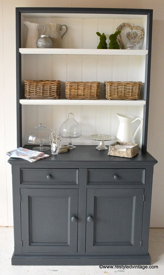 A solid pine buffet & hutch finished in Graphite & Pure White Chalk Paint® decorative paint by Annie Sloan | By Restyled Vintage https://www.facebook.com/media/set/?set=a.827901820571476.1073741929.111043122257353&type=1