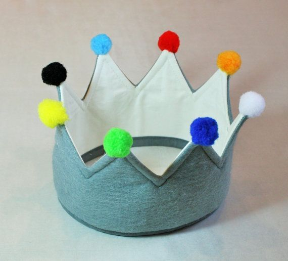 Children's Grey Crown, Felt Crown great for pretending to be a King or Wiseman for the Nativity play or just for a bit of kids dressing up