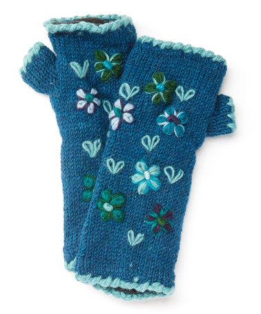 This Blue Embroidered Floral Wool Arm Warmers by Sassy Hip is perfect! #zulilyfinds