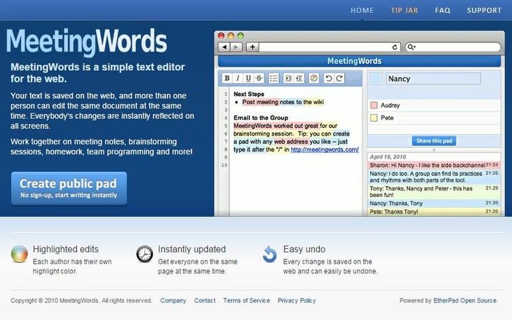 MeetingWords es un editor de texto gratuito, en línea y sin registro. Su principal cualidad es el soporte para la redacción de textos de forma colaborativa.