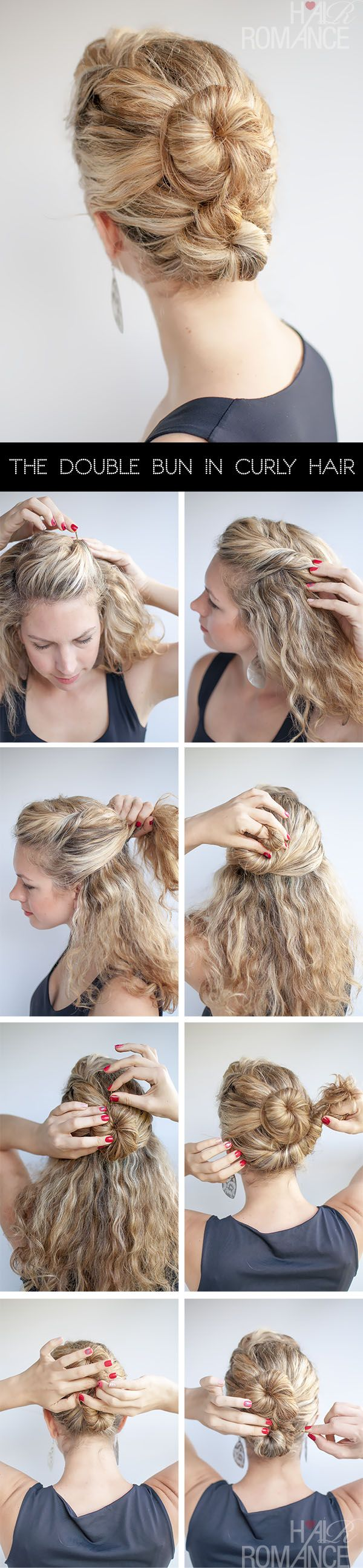 The double bun is a great style for all hair types. In fine hair, it gives the illusion of volume. Conversely in thick hair, it balances out the weight of your hair. - The Double Bun Hair Tutorial in curly hair | hairromance