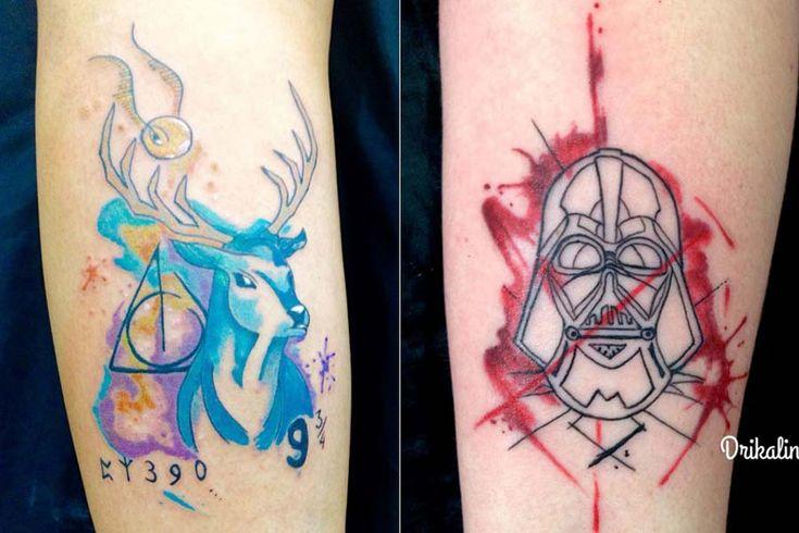 """Drikalinas, a Adriana, é uma tatuadora talentosa de São Paulo. Apesar de tatuar há só um ano, Drika é filha de um tatuador com mais de 30 anos de experiência, então já """"cresceu"""" no meio. A característica mais forte de suas tatuagens é a cor! Ela cria desenhos em rascunhos de papel com tinta e depois reproduz no corpo com cores que imitam aquarela, sempre com traços finos e firmes. As..."""