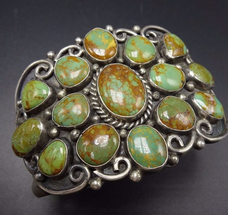 Vintage NAVAJO Sterling Silver & Green Royston TURQUOISE Cuff BRACELET 102g #Cuff