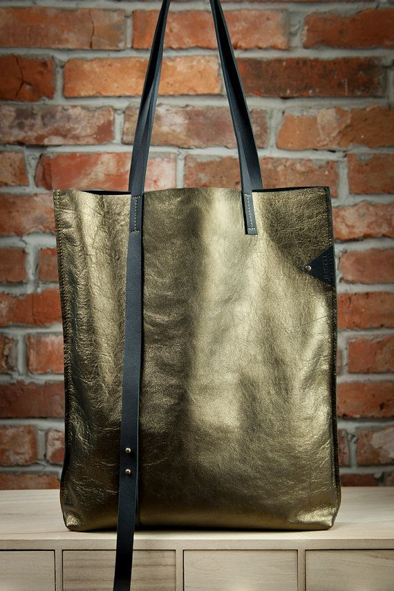 OH MY GOLD Leather Tote Bag Gold Leather Tote Bag by toshibags