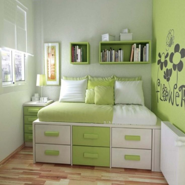 17 Ideas For Calming Green Bedroom Designs : Dazzling Small Floorspace Green  And White Teenage Bedroom Design With SpaceSaving Bed Integrate. Part 26