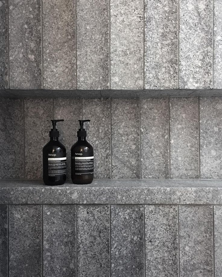 B.E Architecture has worked with @ecooutdoor to develop a custom design for a curved granite tile. The tiles have just recently been installed in one of our upcoming projects and are shown here creating a built-in shelf with a solid granite detail to hold products in the shower.