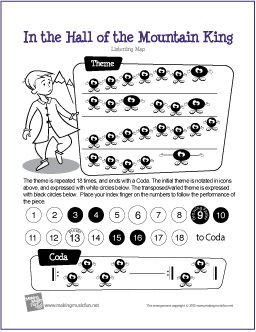 In the Hall of the Mountain King | Free Printable Listening Map suitable for K-2 students  Worksheets for grades 6-8 are at:  www.teacherspayte...