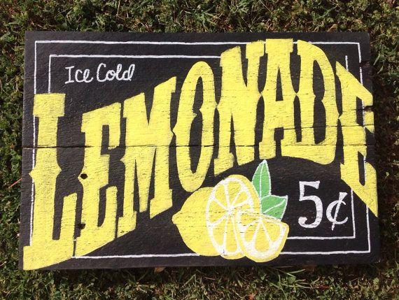 Ice Cold Lemonade Sign by FancifulShenanigans on Etsy, $30.00