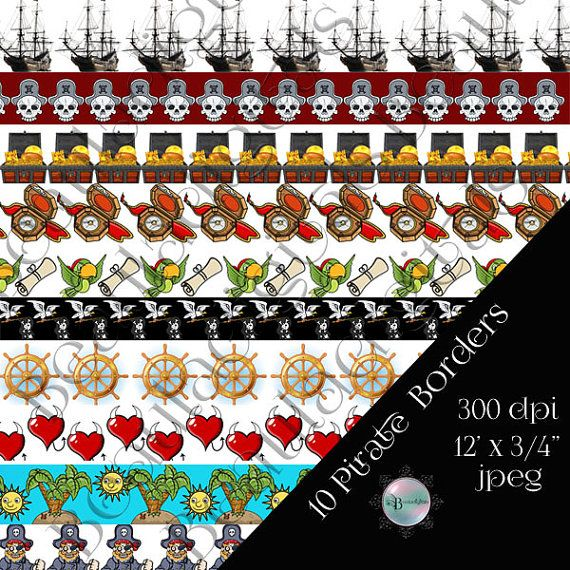 10 Pirate Digital Borders  12 x 3/4 size borders by Beauladigitals