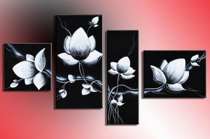 Designbild Blume Abstrakt Schwarz Weiß handgemalt Bild Acryl Wandbild - Kaufen bei H&T Handels-GmbH