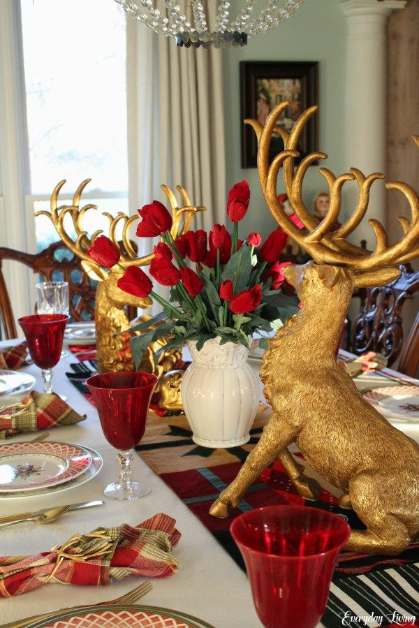 Tablescape Tuesday Golden Reindeer Holiday Table Decorations Christmas Christmas Table Holiday Table Decorations