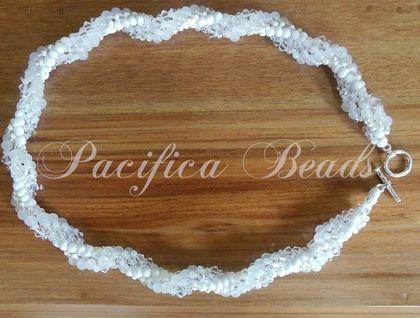 White Quartz & Swarovski crystal twist necklace