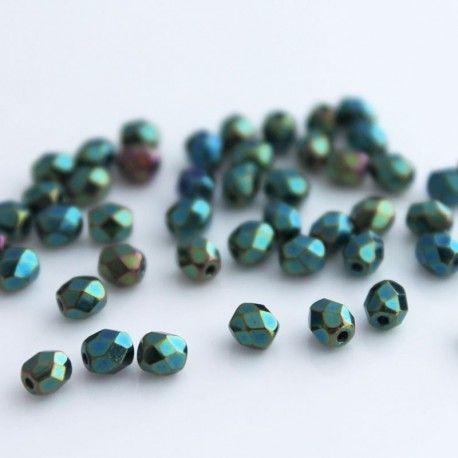 4mm Fire Polished Czech Glass Beads - Green Iris