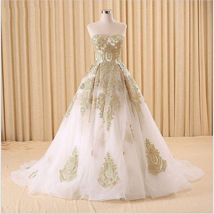 Sweethert Wedding Dress Gold Appliques Sleeveless Ball Gown Wedding Gowns High Quality Organza W ...