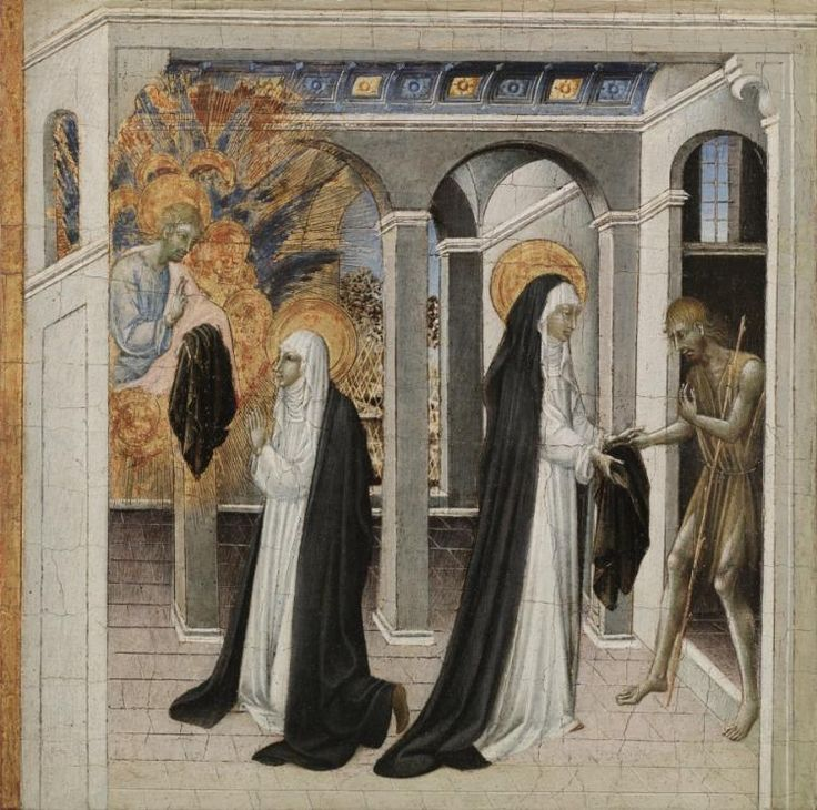 St. Catherine of Siena and the Beggar, Giovanni di Paolo. (1460s | Cleveland Museum of Art)