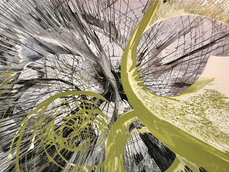 Large acrylic fluid abstract artwork by artist Glenn Farquhar 90cm x 120cm create at Art Fusion Studio & Gallery Sydney
