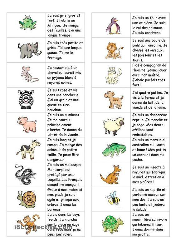 Dominos sur les animaux (avec texte) | GRATUIT FLE fiches pédagogiques: