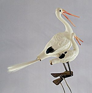 Early 1900s Milk Glass Double Stork Christmas Ornament