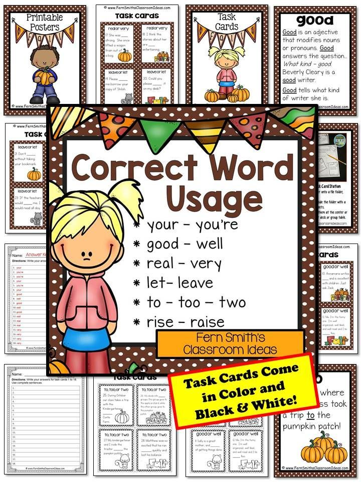Fall Correct Word Usage Task Cards, Definition Posters, Recording Sheets and Answer Keys Perfect for Back to School and Autumn Scoot, Centers and Homework! Thirty-Six FALL Task Cards for Set Two includes, your, you're, good, well, real, very, let, leave, to, too, two, rise, and raise! #TpT $Paid