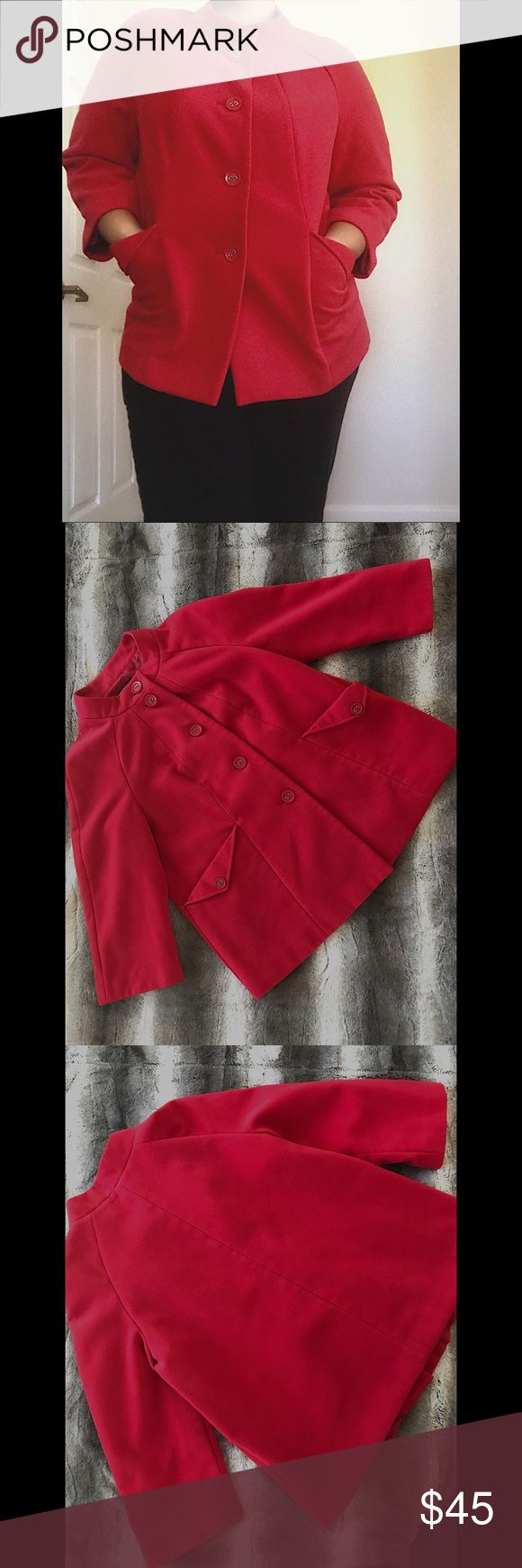 Investments red pea coat 🎄 Perfect for the holidays 🎄🌹  Shell: 69% Polyester. 29% Rayon. 2% Spandex.  Lining: 100% Polyester.  NO TRADES 🙅🏻 ALL REASONABLE OFFERS ARE ACCEPTED 😊👍🏽 NO LOWBALLERS!!! 😒✌🏽️✌🏽 LET'S BUNDLE!!!! 🎋🎉🎁🎊🎈(47) Investments Jackets & Coats Pea Coats