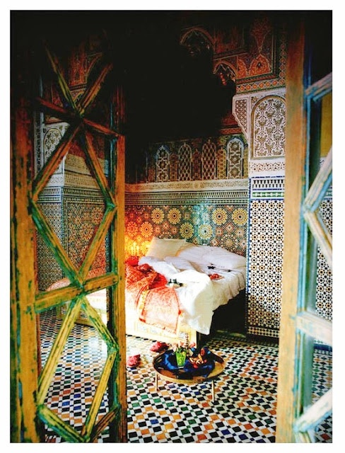 Moroccan pattern walls. Marakech, Tatjana Quacx, photography José Groot Handmade tiles can be colour coordinated and customized re. shape, texture, pattern, etc. by ceramic design studios
