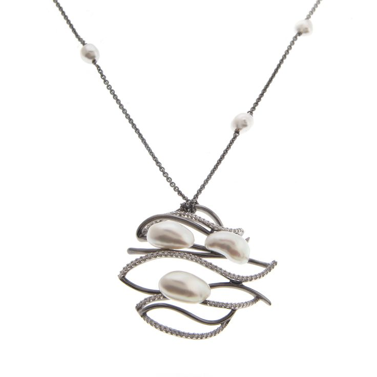 Pearls and Diamonds Trace this Free-form Pendant — with P506687