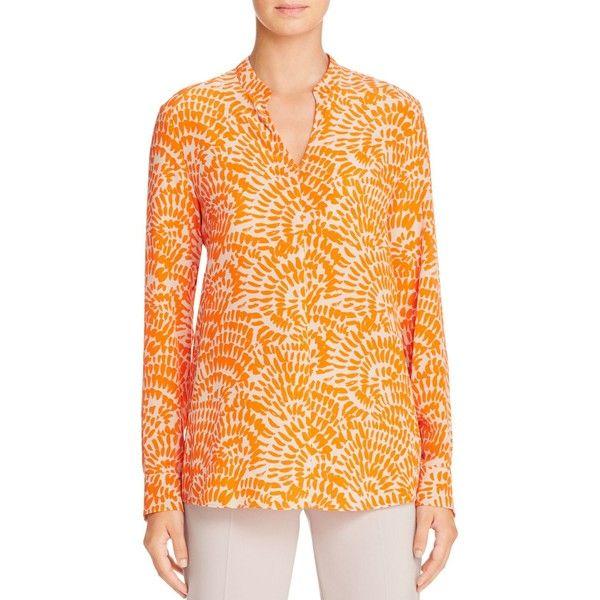 St. Emile Anouk Silk Printed Shirt featuring polyvore, women's fashion, clothing, tops, orange, orange shirt, orange silk top, silk top, shirt top and orange top