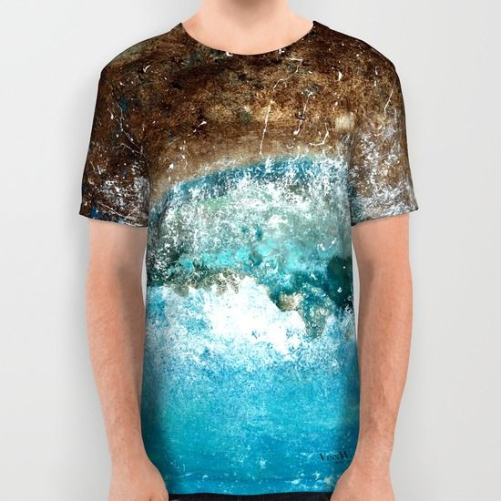 Beautiful ocean and waves abstract unisex T-shirts for men and women by Vinn Wong | Full collection vinnwong.com | International Shipping | Visit the shop or Pin it For Later!