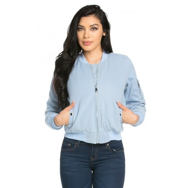 Ribbed Felt Bomber Jacket in Baby Blue ($40) ❤ liked on Polyvore featuring outerwear, jackets, bomber style jacket, ribbed jacket, zip bomber jacket, zip jacket y blouson jacket