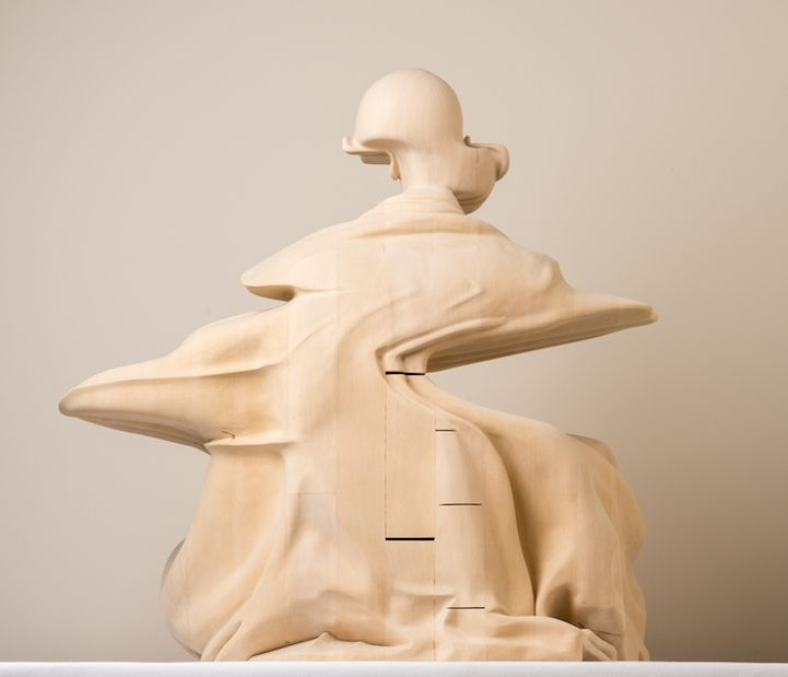 Great Hand Carved Wooden Sculpture Of A Monk Distorted By Glitches