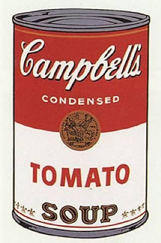 -Andy Warhol -1968 -Pop Art -Screen Print -Commodity icon -Sells warmth, cozy, family values - All of American social values are being communicated through these commodity icons like campbells tomato soup. Campbells soup can sell the warmth, cozy, lifestyle associated with food.