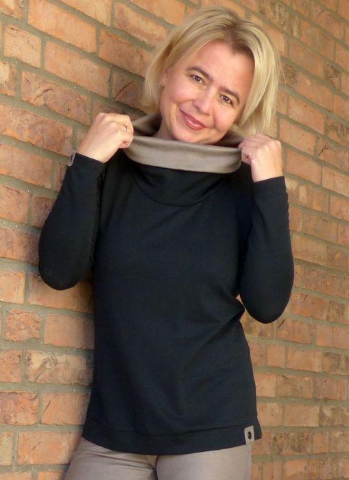 Shirt LIV von pattydoo mit Kunstlederrollkragen passend zu TARA Bikerleggings.