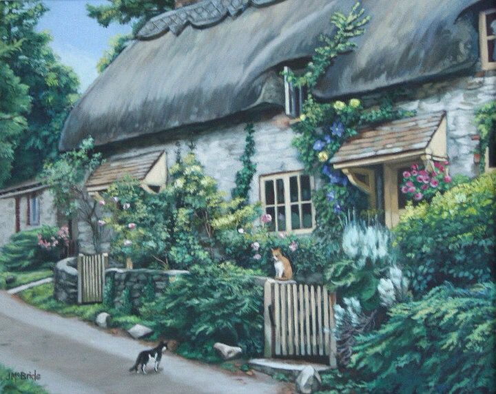 Stone Cottage, Amberley, West Sussex - oil painting