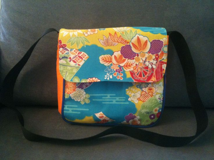 pretty messenger bag made with designer Japanese fabric.