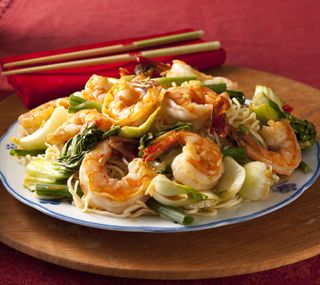 Spicy Shrimp & Bok Choy on Noodles:  Saucy, quick cooking shrimp and bok choy spooned over hot egg noodles.