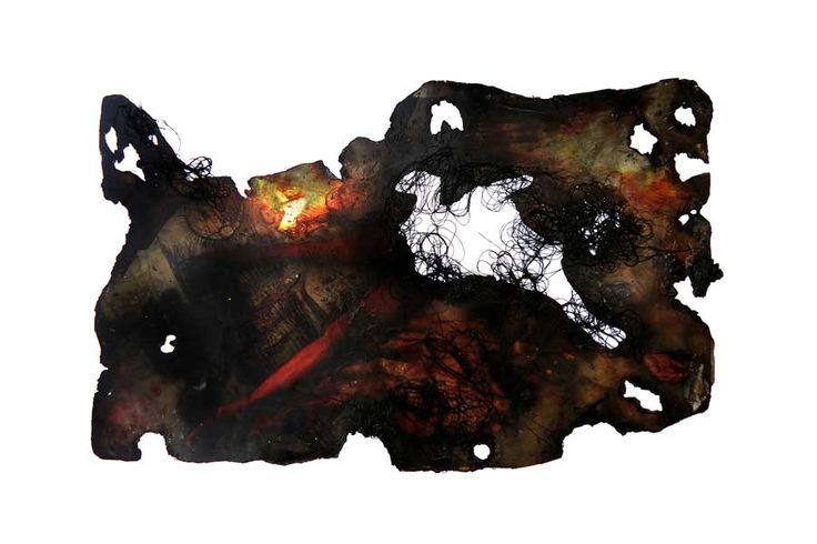 Painting : Deadland I - PAKKIYARAJAH PUSHPAKANTHAN  2016, Mixed media, 40 x 60 cm Art Space Sri Lanka