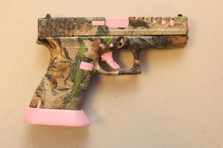 Add colorful accents to your existing camo gun like this handgun with Pink small parts using DuraCoat! www.lauerweaponry.com