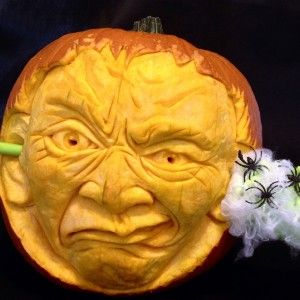 Clearing Cobwebs is a 3D Pumpkin Carving by Theressa Wright