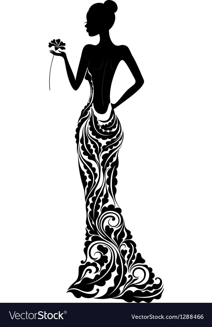 Beautiful Girl In A Dress With Floral Ornament Vector Download A Free Preview Or High Quality Ado Fashion Illustration Silhouette Art Fashion Art Illustration