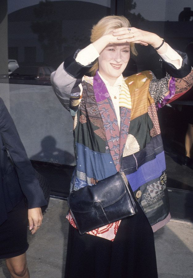 Somehow pulling off the most intense patchwork blazer ever. | Vintage Meryl Streep Is The Best Meryl Streep