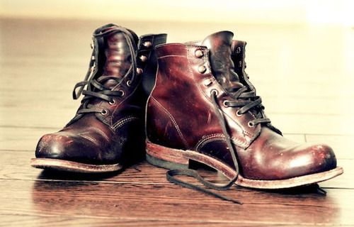 Oxblood. The boots. Leather
