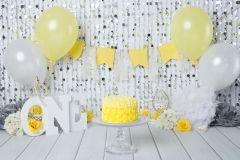Silver and yellow cake smash.