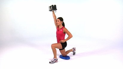 Exercise of the Day! Build strength in your shoulders while challenging your stability with the Overhead Press - Half Kneeling 1 Arm Dumbbell.